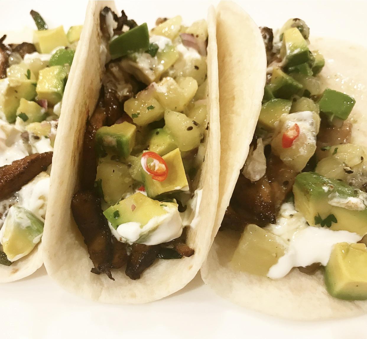 Portobello mushroom tacos with avocado and kiwi salsa